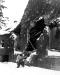 Belgia, 30 I 1945 rok- Pfc D. C. Cox of Amarillo, Texas z Kompani M 26 Pułku przeszukuje okolice Muringenw poszukiwaniu snajperów.